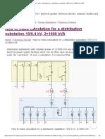 How to Make Calculation for a Distribution Substation 10_0.4 KV, 2x1600 KVA _ EEP
