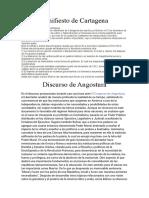 Manifiesto de Catagena y Discurso de Angostura
