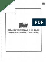 Reglamento Para Regular El Uso de Los Sistemas de Agua Potable y Saneamiento