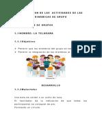 Descripcion de Las Actividades de Las Dinámicas de Grupo