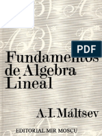 Fundamentos Del Álgebra Lineal - A. I. Máltsev