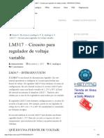 LM317 Circuito Para Regulador de Voltaje Variable