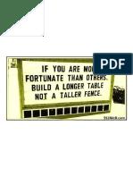 Build a Longer Table .. Not a Taller Fence