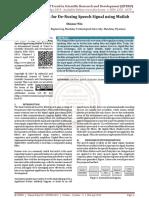 IIR Filter Design for De Nosing Speech Signal using Matlab