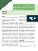 Periodicidade de retornos às consultas de prevenção em Odontopediatria