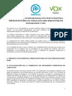 Acuerdo para los Presupuestos de Andalucía entre PP, Cs y Vox