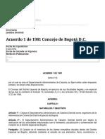 Acuerdo 1 de 1981 Concejo de Bogotá D.C.
