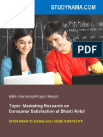 Marketing Research on CSAT at Airtel - BBA Marketing Summer Training Project Report
