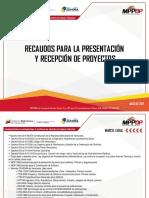 Recaudos para la presentacion y recepcion de proyectos