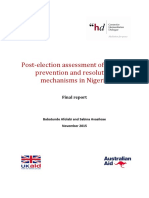 Post-election Assessment of Conflict Prevention and Resolution Mechanisms in Nigeria