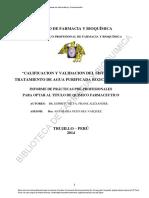 Calificacion y Validacion Del Sistema de Tratamiento de Agua Purificada Ro2-Cedi 400L-h