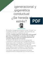 Transgeneracional y Epigenética Conductual