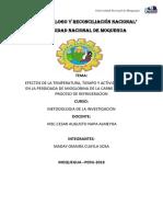 Efectos de La Temperatura Tiempo y Actividad de Agua en El Proceso..... 2