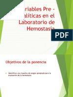 Variables Preanalíticas en Hemostasia