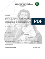 St Joseph the Worker Parish Letter for YOUTH ENCOUNTER