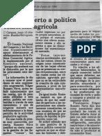 Edgard Romero Nava - Consecomercio Apoyo Abierto a Politica Comercial Agricola - Diario El Espacio 16.06.1990