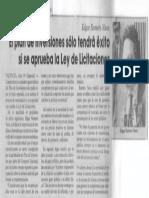 Edgard Romero Nava - El Plan de Inversiones Solo Tendra Exito Si Se Aprueba La Ley de Licitaciones - El Universal 20.07.1990