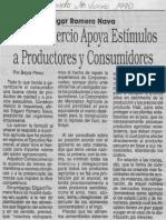 Edgard Romero Nava Consecomercio Apoya Estimulos a Productores y Consumidores
