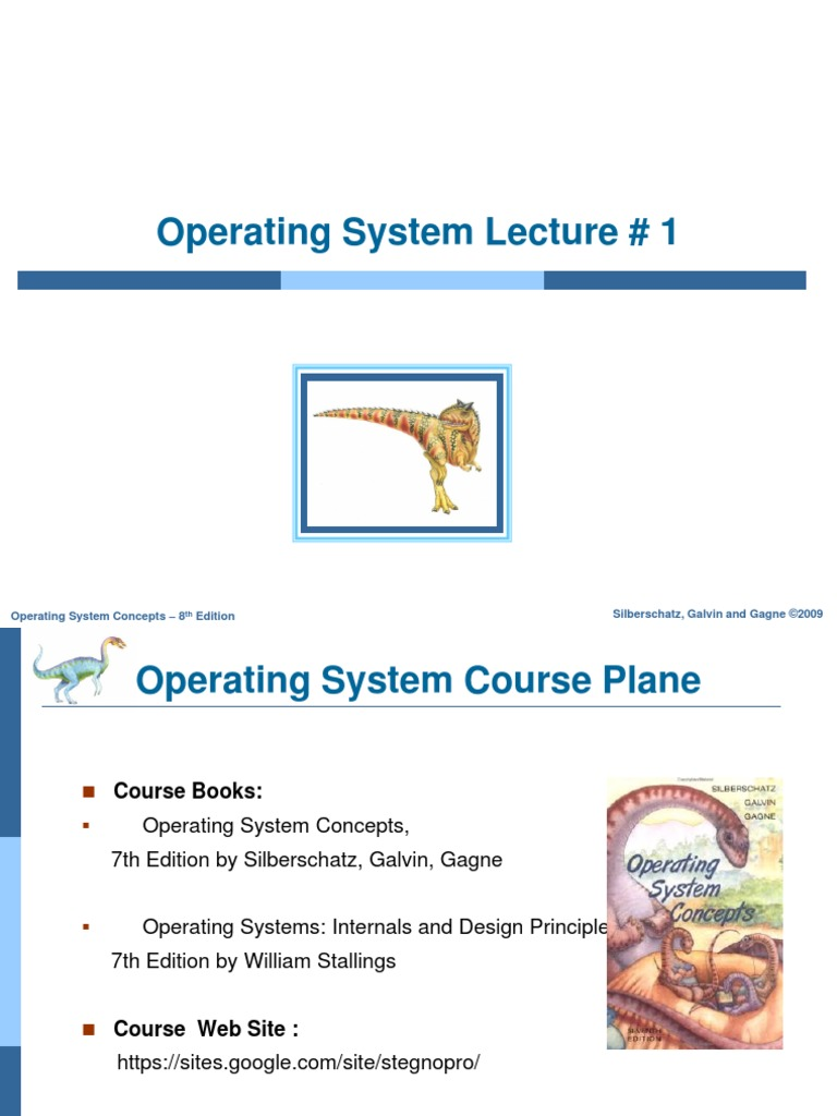 Operating System Concepts Lecture 1 Operating System Computer Program