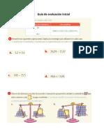 Guía de Evaluación Inicial - Fracciones 5to Básico