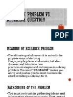 Research Problem vs. Research Question