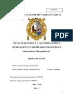 Informe 3 Laboratorio Fisicoquimica PRESION de VAPOR