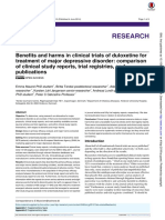 Benefits and harms in clinical trials of duloxetine for treatment of major depressive disorder