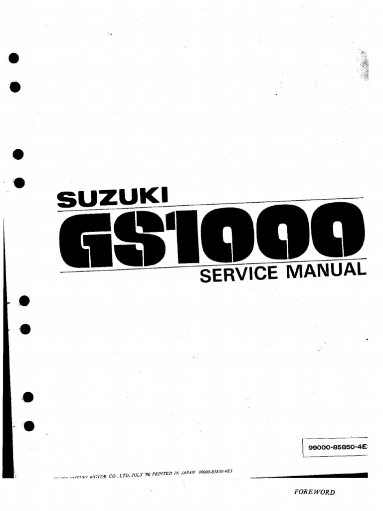Suzuki GS1000 '80 Service Manual