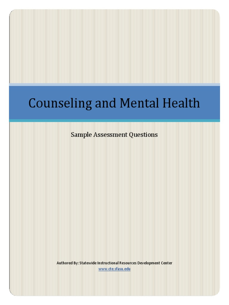 Counseling And Mental Health Sample Assessment Questions Psychologist Psychotherapy