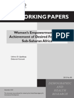 Women's Empowerment Achievement of Desaired Fertility in Sub Saharan Africa