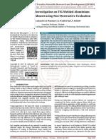 Experimental Investigation on TIG Welded Aluminium Alloy 6082 Weldment using Non Destructive Evaluation