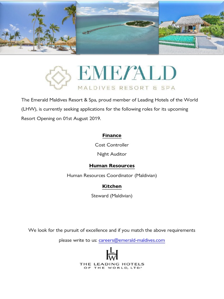 01 Job Advertisement The Emerald Maldives Resort 14 06
