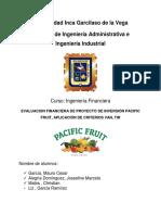 Evaluación Financiera de Proyectos de Inversión, Aplicación de Criterios VAN y TIR