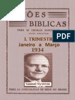 Lições Bíblicas - 1934 - 1º Trimestre