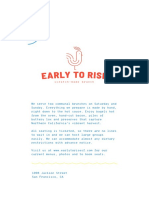 Early to Rise Menu
