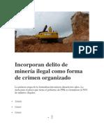 Incorporan Delito de Minería Ilegal Como Forma de Crimen Organizado