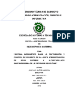 """""""Sistema Informático Para La Facturación y Control de Usuarios de La Junta Administradora de Agua Potable y Alcantarillado Santandereana de La Provincia de Bolívar"""""""