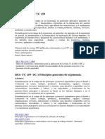 Relación Normas ISO TC159 2018_español