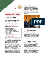 Moraga Rotary Newsletter June 11 2019