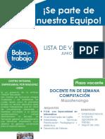 Plazas Vacantes Junio 2019