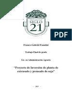 """""""Proyecto de Inversión de planta de extrusado y prensado de soja"""""""