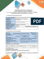 Guía de Actividades y Rúbrica de Evaluación - Paso 3 - Preparar Presupuestos Para La Planeación y El Control