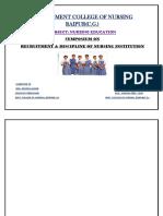 SYMPOSIUM on Recruitment & Disciplineof Nursing Institution