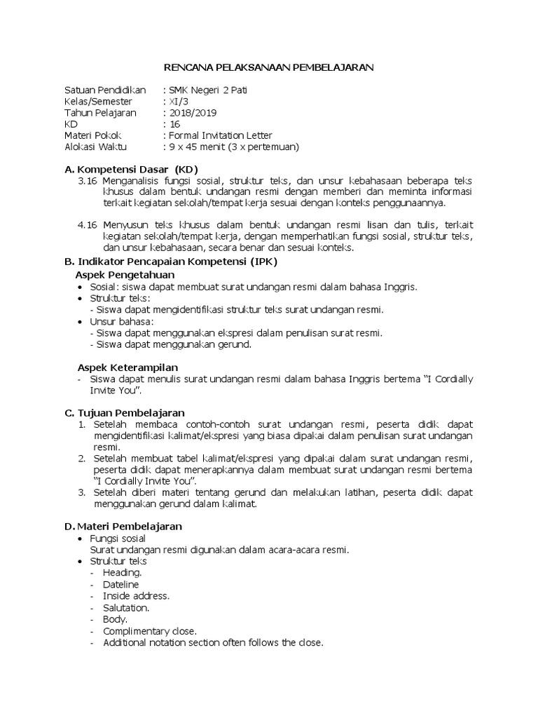 Surat Undangan Dalam Bahasa Inggris Beserta Soal Hots