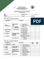 Fitness Test Score Card