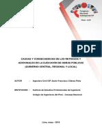 Trabajo Técnico Causas y Consecuencias de Retrasos y Adicionales en Obras Publicas