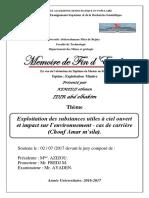 Exploitation Des Substances Utiles à Ciel Ouvert Et Impact Sur l'Environnement - Cas de Carrière (Chouf Amar m'Sila).(1)