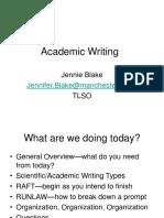 Presentation From Academic Writing Skills Workshop - Jennie Blake