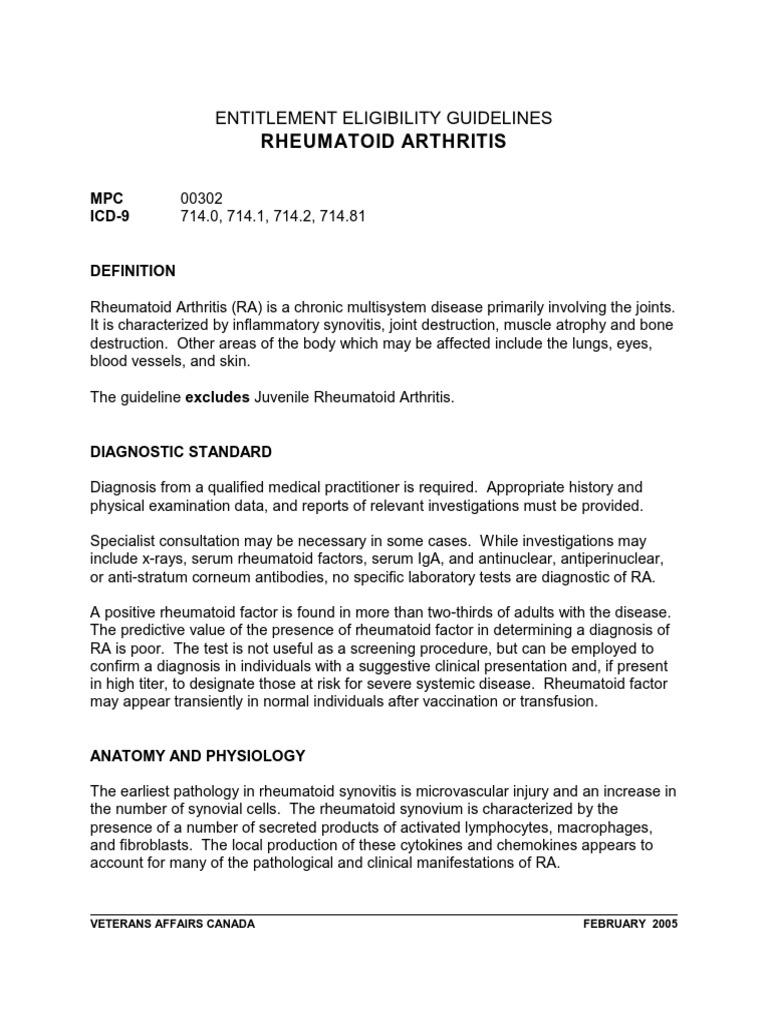 Rheumatoid Arthritis Entitlement Eligibility Guidelines Rheumatoid Arthritis Arthritis