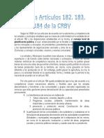 Análisis artículos 182, 183, 184 de la CRBV